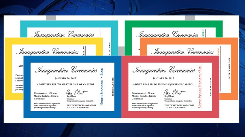 010617 inauguration tickets on background