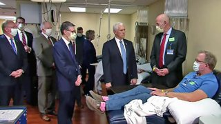 Vice President Mike Pence visits the Mayo Clinic without a mask