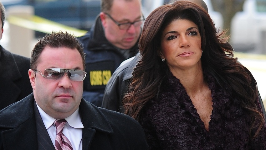 Teresa Giudice and Joe Giudice are seen outside a federal criminal court in Newark, New Jersey.