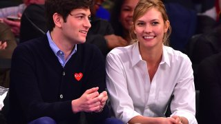 In this March 26, 2016, file photo, Joshua Kushner and Karlie Kloss attend the Cleveland Cavaliers vs New York Knicks game at Madison Square Garden in New York City.