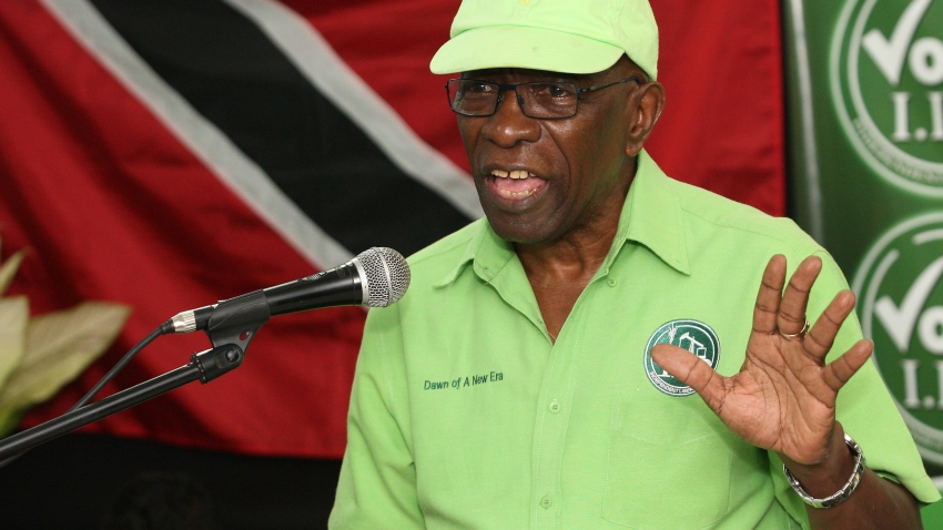 FILE - In this Wednesday, June 3, 2015 file photo, former FIFA vice president Jack Warner speaks at a political rally in Marabella, Trinidad and Tobago.