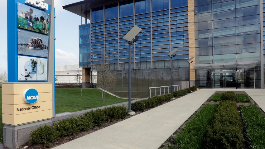 FILE - This is an April 25, 2018, file photo, showing NCAA headquarters in Indianapolis.
