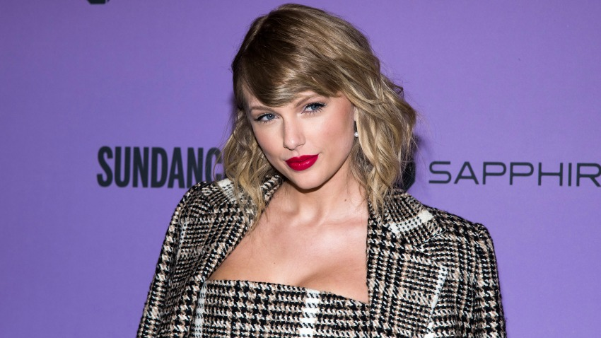 "In this Jan. 23, 2020, file photo, Taylor Swift attends the premiere of ""Taylor Swift: Miss Americana"" at the Eccles Theater during the 2020 Sundance Film Festival in Park City, Utah."