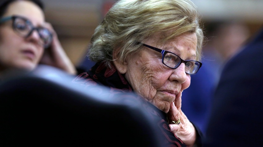 """In this March 12, 2019 file photo, New Jersey state Sen. Loretta Weinberg, left, listens to special counsel Michael Critchley, Sr. ask Albert Alvarez questions before the joint legislative oversight committee in Trenton, NJ. A forum in Fort Lee will meet Tuesday, Feb. 11, 2020 and is expected to be the first in a series that aims to shine a light on women's experiences and turning around what some officials said is a """"deeply rooted culture of misogyny."""""""