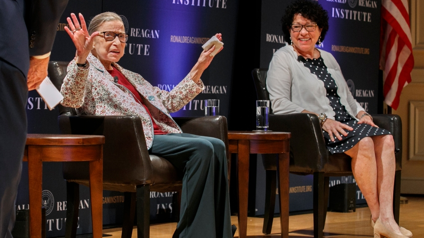 Supreme Court Justices Ruth Bader Ginsburg and Sonia Sotomayor in a Sept. 25, 2019 file photo