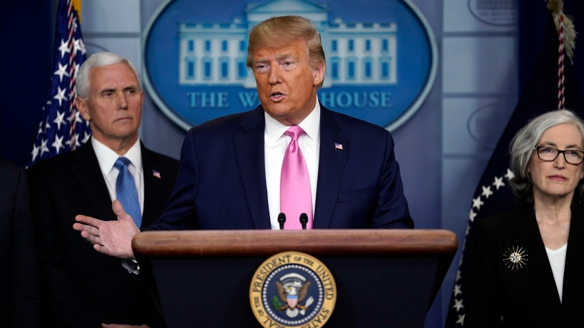 President Donald Trump with members of the President's Coronavirus Task Force speaks during a news conference in the Brady Press Briefing Room of the White House, Wednesday, Feb. 26, 2020, in Washington.