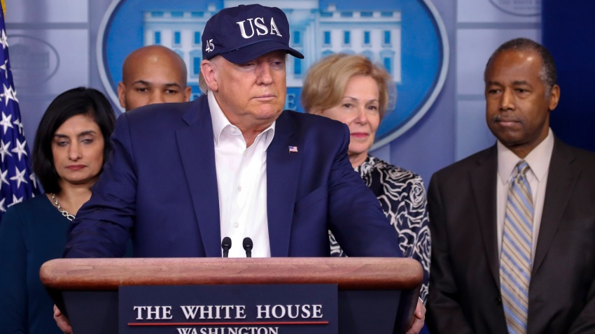 President Donald Trump speaks during a briefing on coronavirus in the Brady press briefing room at the White House, Saturday, March 14, 2020, in Washington. Listening from left are Administrator of the Centers for Medicare and Medicaid Services Seema Verma, U.S. Surgeon General Jerome Adams, Dr. Deborah Birx, White House coronavirus response coordinator, and Housing and Urban Development Secretary Ben Carson.