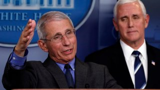 Dr. Anthony Fauci, director of the National Institute of Allergy and Infectious Diseases, speaks about the coronavirus in the James Brady Press Briefing Room of the White House, Tuesday, April 7, 2020, in Washington, as Vice President Mike Pence listens.