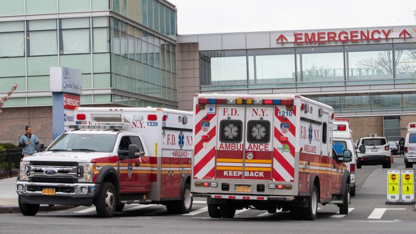 FDNY ambulances are seen entering and leaving the emergency room at Queens Hospital Center