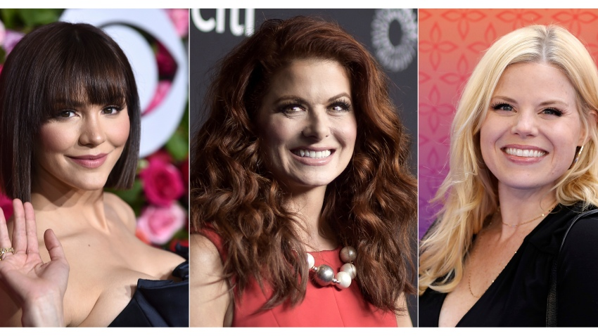 "This combination of photos shows, from left, Katharine McPhee, Debra Messing and Megan Hilty, who will reunite May 20 to present a stream of the one-night-only 2015 Broadway concert of the musical within the TV show ""Smash."" In the series, Hilty and McPhee played feuding actresses hoping to play Marilyn Monroe."