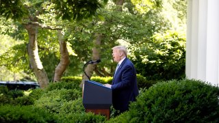Donald Trump speaks during a White House Rose Garden ceremony