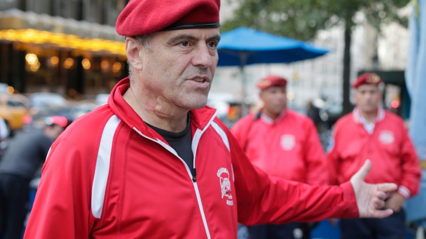 In this Aug. 12, 2015, file photo, Guardian Angels founder Curtis Sliwa responds to questions during a news interview in New York.