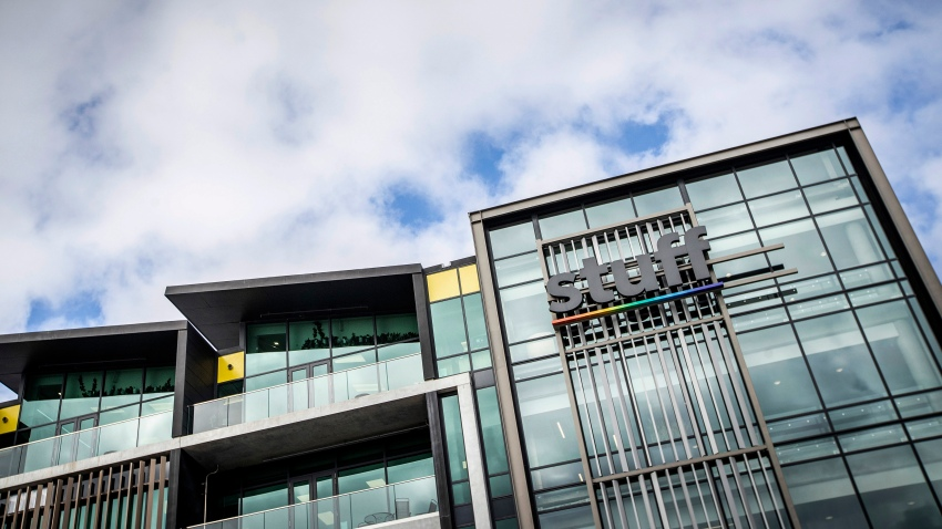 In this May 11, 2020, file photo, the offices of media company Stuff in central Auckland, New Zealand. One of New Zealand's largest media organizations has been sold for a single dollar to the chief executive, Sinead Boucher in a management buyout that would be completed by the end of the month.
