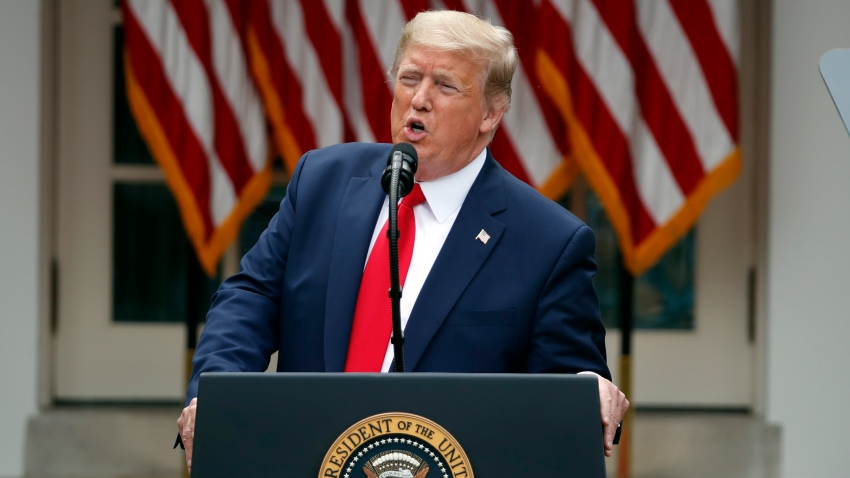 In this May 29, 2020, file photo, President Donald Trump speaks during a news conference in the Rose Garden of the White House in Washington.