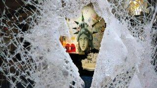 smashed Dolce and Gabbana window