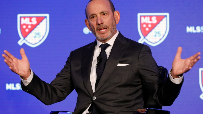 FILE - In this Feb. 26, 2020, file photo, Major League Soccer Commissioner Don Garber speaks during the leagues 25th Season kickoff event in New York.