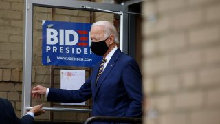 Democratic presidential candidate, former Vice President Joe Biden arrives at Carlette's Hideaway, a soul food restaurant, to speak with small business owners, Wednesday, June 17, 2020, in Yeadon, Pa.