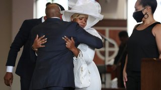 Mourner pay their respects to Rayshard Brooks during his public viewing