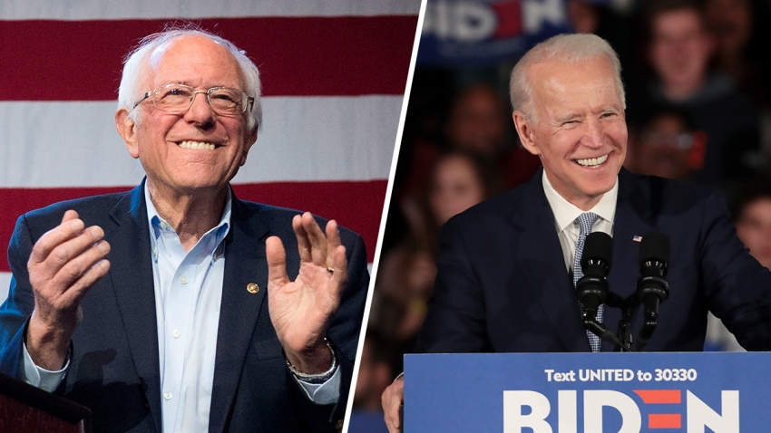 A split image showing Democratic presidential primary front-runners Sen. Bernie Sanders (left) of Vermont and former Vice President Joe Biden.