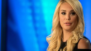 In this file photo, Britt McHenry, a former ESPN reporter is making the transition to news on Fox and has a new show starting in October. She visits the Fox news set on August 30, 2018 in Washington, DC.