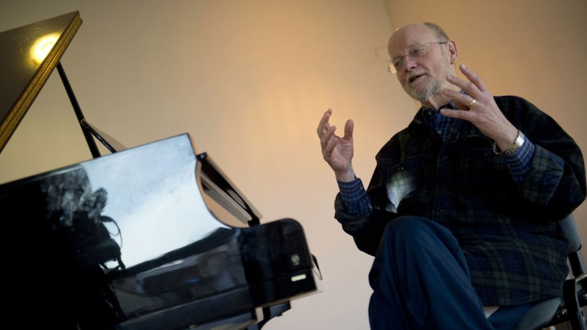 American composer of contemporary classical music Charles Wuorinen sits during an AFP interview in Madrid on January 16, 2014.