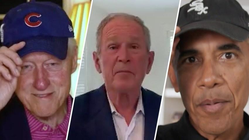 Former Presidents Bill Clinton, George W. Bush and Barack Obama.