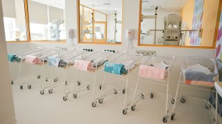 A line of baby beds/strollers awaiting to accomodate newborn babies inside a new Center of Maternity and Women's Medicine, opened in Krakow on Tuesday, September 25, as a part of an existing Ludwik Rydygier Specialized Hospital. The new department will provide comprehensive care to both women struggling with various types of gynecological diseases as well as future mothers and their children. On Wednesday, September 26, 2018, in Krakow, Poland. (Photo by Artur Widak/NurPhoto via Getty Images)