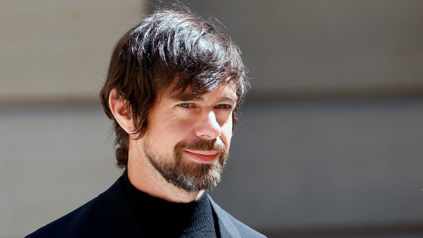 """In this May 15, 2019, file photo, Jack Dorsey arrives to attend the """"Tech for Good"""" Summit at Hotel de Marigny in Paris, France."""