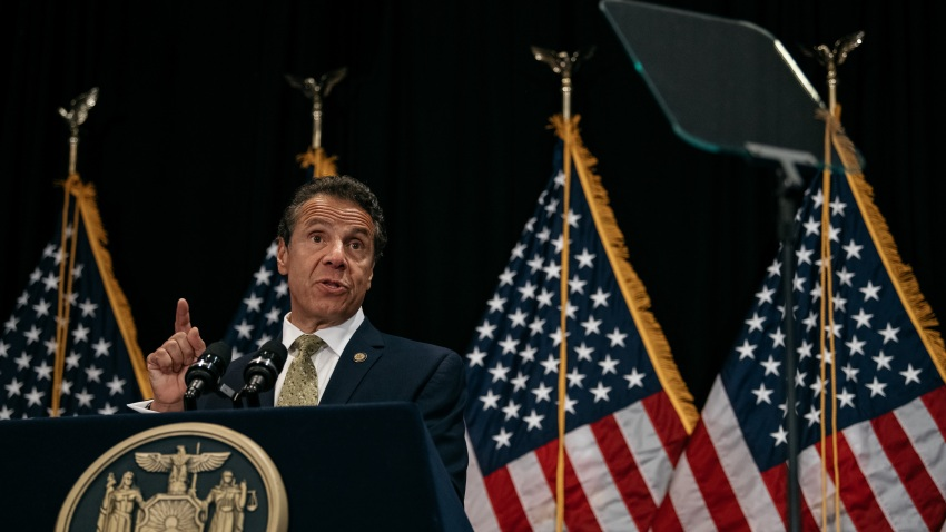 New York Governor Andrew Cuomo delivers a speech on the importance of renewable energy and signs the Climate Leadership and Community Protection Act at Fordham Law School in the borough of Manhattan on July 18, 2019 in New York City