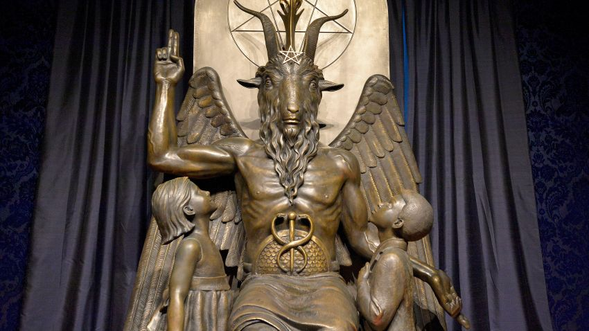 "The Baphomet statue is seen in the conversion room at the Satanic Temple where a ""Hell House"" is being held in Salem, Massachusett on October 8, 2019."