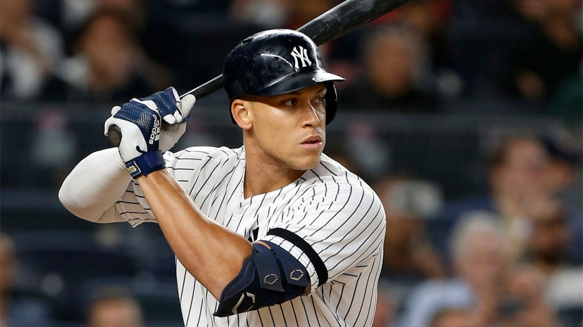 Aaron Judge #99 of the New York Yankees in action with a bat