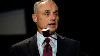 Major League Baseball Commissioner Rob Manfred speaks during the 2019 Major League Baseball Winter Meetings on Dec. 10, 2019, in San Diego.