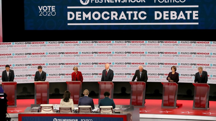 Democratic presidential candidates on debate stage