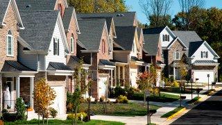 Neat line of suburban houses