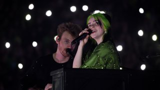 File photo: Finneas O'Connell and Billie Eilish perform live on stage