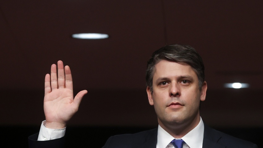 Judge Justin Walker is sworn in prior to testifying before a Senate Judiciary Committee confirmation hearing on his nomination to be a U.S. circuit judge for the District of Columbia Circuit on Capitol Hill on May 6, 2020 in Washington, DC.