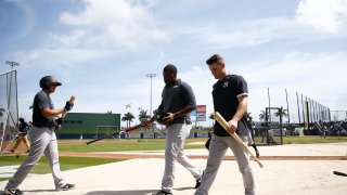 new york yankees during batting practice