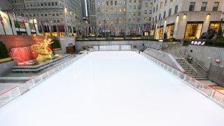 Empty Rockefeller ice skating rink