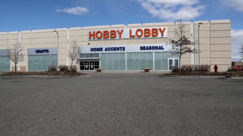 A Hobby Lobby store sits closed after the chain closed due to the COVID-19 crisis on April 03, 2020 in Lakewood, Colorado.