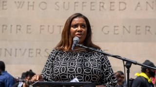 New York State Attorney General Letitia James speaks at the Brooklyn memorial service for George Floyd