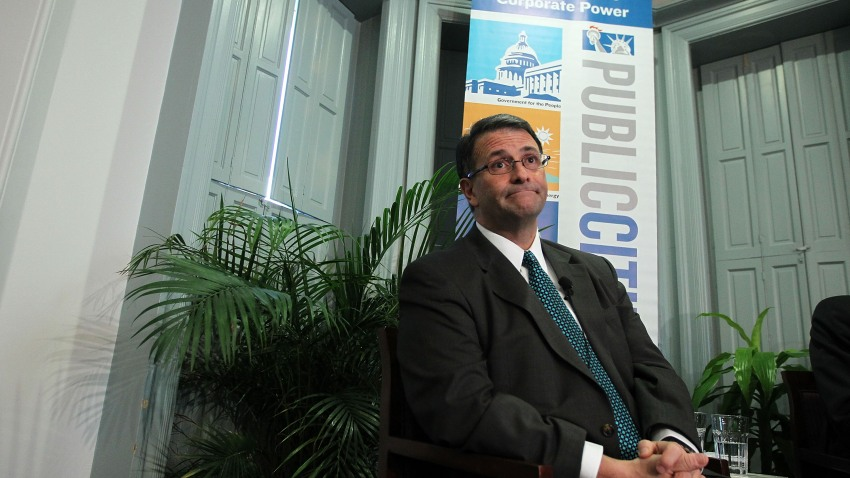 Former lobbyist Jack Abramoff participates in a discussion at Public Citizen on Feb. 6, 2012, in Washington, DC.