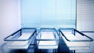 Baby cribs at a maternity ward.