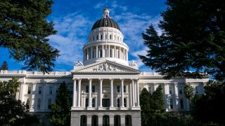 The dome and exterior of the State Capitol building in California