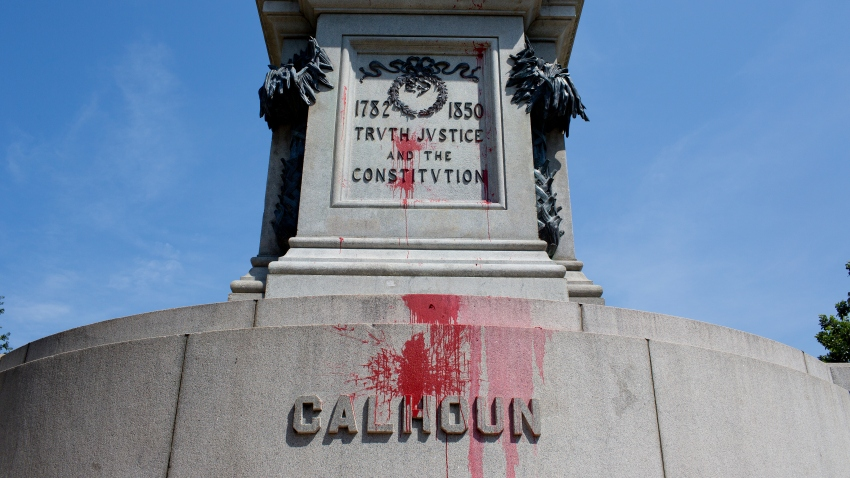 For the second time in a week, the main statue in downtown Charleston's Marion Square, of John Calhoun, a senator from South Carolina and a leading proponent of the virtues of slavery, was defaced with paint.