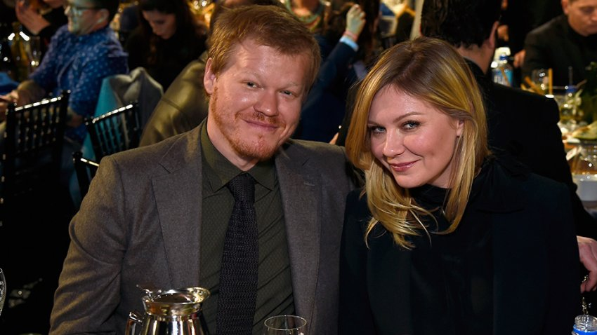 In this Feb. 25, 2017, file photo, actors Jesse Plemons (L) and Kirsten Dunst attend the 2017 Film Independent Spirit Awards at the Santa Monica Pier in Santa Monica, California.