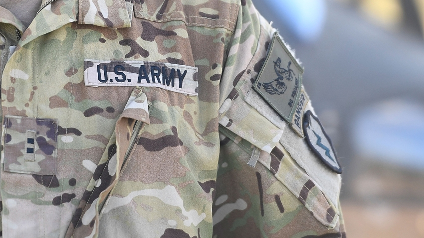 In this July 12, 2017, file photo, the sleeve insignia and uniform of an American soldier is seen at the Williamson airfield in the Shoalwater Bay Training Area as part of Battle Group Pegasus in Rockhampton, Australia.