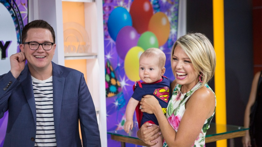This file photo shows Dylan Dreyer and her son son Calvin and husband Brian Fichera on Wednesday, Aug.2, 2017.