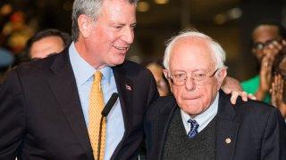 Bill de Blasio and Bernie Sanders