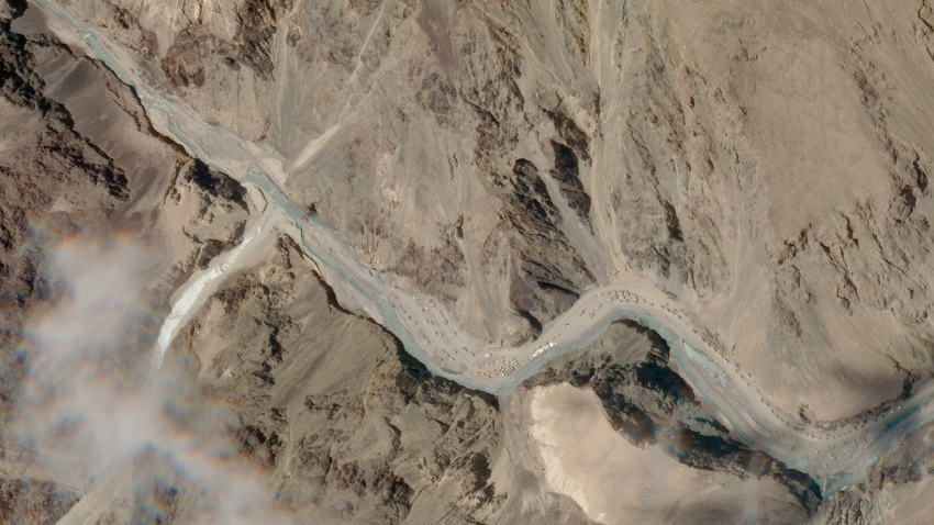 This satellite photo provided by Planet Labs shows the Galwan Valley area in the Ladakh region near the Line of Actual Control between India and China Tuesday, June 16, 2020. A clash high in the Himalayas between the world's two most populated countries claimed the lives of 20 Indian soldiers in a border region that the two nuclear armed neighbors have disputed for decades, Indian officials said Tuesday.