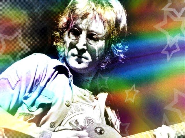 111408 John Lennon plays guitar - rainbow coloring treatment